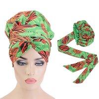 Ekstra Büyük Saten Çizgili Bonnets Şapka Uzun Şerit Headwrap Ankara Kafa Kapak Bonnet Şapka ile Afrika Desen Bonnet