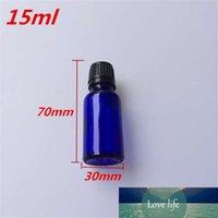 10 pz 30x70 mm Bottiglie di vetro blu scuro con tappi di plastica nera FAI DA TE 15 ml Vuoto bottiglie di vetro di profumo olio essenziale