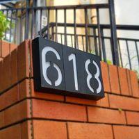 7-дюймовые светодиодные номера домов, знак солнечного адреса, знак на открытом воздухе освещенной дверной настенный пластинчатый знак для дома, сад, индивидуальное письмо отеля