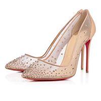 Mulheres casamento casar sapatos vestido liso salto alto Bombas vermelhas Bombas Follies Strass Degrastrass Imported Mesh + Strass Party Noite Sapatos