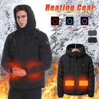 Men Winter Jacket USB Heated Heating Hooded Jacket Down Cotton Coat Thermal Clothing Outdoor Sport Hiking Skiing Windbreaker