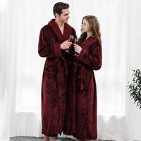 Весна осень зима длинный большой размер сгущает женские мужские пижамы пижамы пижамы пижамы пижамы пижамы купальный замыкание супер мягкая пара фланель теплые банные халаты1