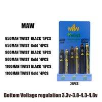 MAW TWIST Alt Ayarlanabilir Voltaj Pil 510 iplik Kalın Yağ Gerilim 3.3-4.8V 650mAh 900mAh 1100mAh 24pcs Bir Görüntü kutusu DHL Ücretsiz