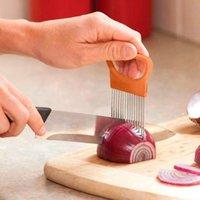 쉬운 컷 양파 홀더 포크 스테인레스 스틸 + 플라스틱 야채 슬라이서 토마토 커터 금속 고기 니들 가젯 고기 Frok 4 색