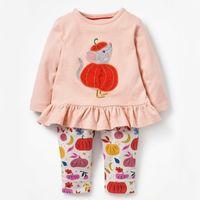 Little Maven 18m-7year outono de duas peças abóbora conjunto criança crianças crianças conjuntos de roupas de bebê meninas caindo roupas boutique terno Y200325