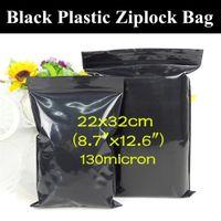 """50PCS 22x32cm (8,7 """"x12,6"""") Mjukt svart dragkedja förpackning väska Ljusbeständigt Virgin Hårbuntar / Förlängningar Svart presentförvaringsficka"""