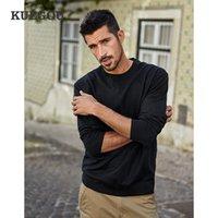KUEGOU 2020 Sonbahar Düz Siyah Süveter erkekler Kazak Günlük O-Boyun Jumper İçin Erkek Giyim Marka Örme Artı boyutu Giyim 12301