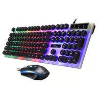 Tastiera retroilluminata di alta qualità Tastiera e mouse Combos Gaming Keyboard Rotondo Cappuccio a chiave rotondo Meccanico retroilluminato Turno TOYCAP USB Gaming Keyboard