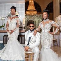 2021 뉴 블링 아프리카 인어 웨딩 드레스 높은 목 깎아 지른 긴 소매 레이스 크리스탈 구슬 신부 웨딩 가운 우아한 가운 드 마리에