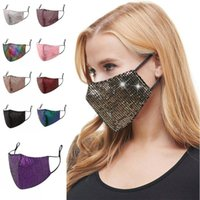 Ladies Sequins Protective Face OWE672 Shiny Washable Reuse S...