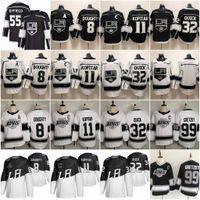 55 Quinton Byfield 로스 앤젤레스 킹스 하키 유니폼 8 Drew Doughty 11 Anze Kopitar 32 Jonathan Quick Wayne Gretzky 77 Jeff Carter Black White