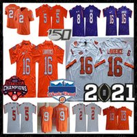 2021 Clemson Tigers College Trevor Lawrence Jersey Travis Etienne Jr. Sammy Watkins Tee Higgins Justyn Ross Hunter Renfrow 150e Fiesta Bowl