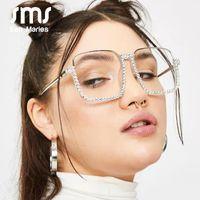 Óculos de sol Sen Maries Diamond Quadrado Mulheres Moda Lente Clear Cristal Frame Gradiente Azul Elegante Eyewear UV400