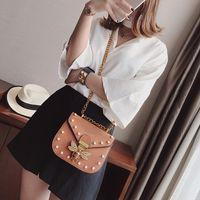 "WOMENS BRAND BAG LOUIS""VITTON DESIGNER Handbags New Design Hot Gold Buckle Shoulder Bee For Women Pearl Rivet Crossbody Bag D1yy Bags S"