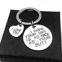 Chaveiro de aço inoxidável Coração Chaveiro Chaveiro Anéis Suporte para Amantes Casais Eu te amo Letras redonda Pingente Keyring Jóias Acessório 628 K2