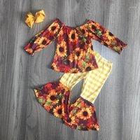 Girlymax otoño invierno bebé niñas equipo niños ropa de algodón volantes girasol plaid floral botones pantalones conjunto partido bow1