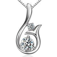 Collana a sospensione in alto grado collana cubico zircone 30% 925 argento sterling piccolo ciondolo ciondolo della sirena collana di nozze gioielli donne festa 341 N2