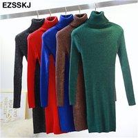Ezsskj alta elasticidade outono inverno camisola vestido mulheres quente feminino turtleneck malha bodycon elegante glitter clube vestido ol 201008