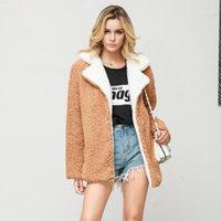 Katı Faux Kürk Ceket kadın Gevşek Hırka Turn-down Yaka Ceket Kadın Sonbahar Kış Dış Giyim Ceketler Kadınlar için Chaqueta Mujer1