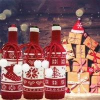 Cubierta de la botella de vino de la Navidad Ornamento del partido Mini abrigo de cuadros suéter Bolsa de botella de vino Navidad Año Nuevo Cena Decoración JK2010XB
