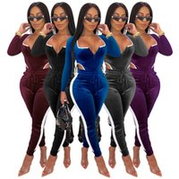 Mujeres Sexy V cuello mansiones de color sólido Terciopelos de terciopelo de moda Ropa de club de moda Onesie Modificador de manga larga Bodycon One Pasteles Pantalones 4419