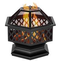 Waco 24-inch Açık Mangal Yangın Çukuru BARBEKÜ Izgaralar, Altıgen Şekilli Demir, Ahşap Yanan veya Kömür Kullanımı Dekorasyon Backdyard Pointside Siyah Için