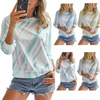 Tie Dye femme T-shirts T-shirts manches longues Pull en vrac Tops Mode Automne Casual Femmes O Neck
