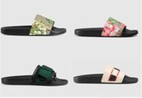 새로운 뜨거운 남성 여성 샌들 신발 슬리퍼 진주 뱀 인쇄 슬라이드 여름 넓은 평면 레이디 샌들 슬리퍼 상자 먼지 가방 35-46