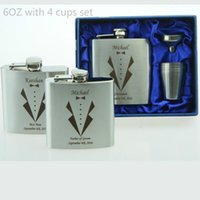 Wholesale- Personalized Groomsmen gift ,best man gift 4 oz or 6oz ounce stainless steel hip flask1