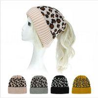 Tricoté Leopard Ponytail Hat femmes Beanies Skullies hiver chaud tricot extérieur Ski Casual Bonnet Cap 6 Styles LJJP588