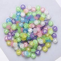 Perline alfabeto Lettera Acrilico Piatto Acrilico Colore perline 4 * 7mm Branelli sciolti Forr FAI DA TE Braccialetto Gioielli