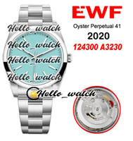EWF 41mm A3230 Otomatik 124300 Erkek İzle Cilalı Çerçeve 904L Çelik Kılıf ve Bilezik Mavi Kadran 124300-0006 2020 Üst Saatler Hello_Watch
