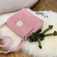 Evening Bags Women Stripe Corduroy Crossbody Daisy Embroidery Canvas Zipper Shoulder & Messenger Bag Phone Coin Money Handbags For Girls