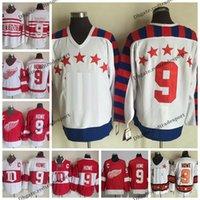 1950 All Star Gordie Howe Hóquei Jerseys Vintage Detroit Red Wings Inverno Clássico # 9 Gordie Howe Barato Costurado Camisas C Patch