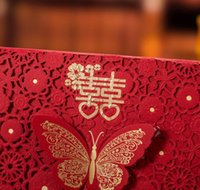 (30 Pieces/lot) Traditional Overseas Chinese Red Wedding Invitation Card Laser Cut Butterfly Marriage Guest jllTjQ warmslove