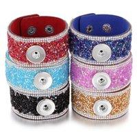 Braccialetti di fascino Braccialetto del bottone del bottone del cristallo del bottone del braccialetto di cristallo del braccialetto di cristallo 18mm
