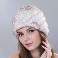 Rex Pelz-Winter Warm Damen Mützen Hut Frauen verdickte Earmuff Skullies Cap Mutter Mode Ananas Strickmützen H7080
