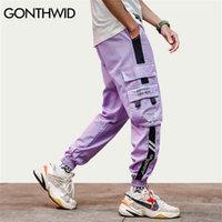 Gonthwid Color Block Cargo Harem Juntos Track Hip Hop Casual Sweatpants Sweardwear Moda Moda Calças Hipster Calças Y201123