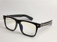 Hombres Caja óptica Punk Style Design Retro Cuadrado Marco Top Clear Lens Gafas Clear Lente Puede hacer gafas de prescripción