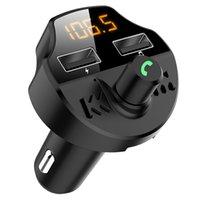 자동차 FM 송신기 블루투스 5.0 자동차 MP3 플레이어 변조기 어댑터 배터리 전압 TF 카드 핸즈프리 듀얼 USB T66