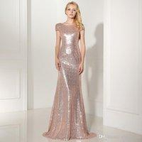 Ouro Sparkly Rose Gold Lantejoulas Dridesmaid Vestidos 2021 Jewel Mangas Curtas Doméstica de Honra Bling Bling Prom vestido de noite Vestidos