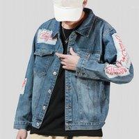 봄 새로운 브랜드 하라주카 빈티지 패치 인쇄 망 워시 데님 재킷 단일 브레스트 옷깃 느슨한 캐주얼 남성 겉옷 코트 1