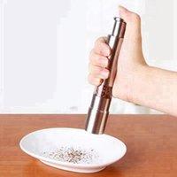 الفولاذ المقاوم للصدأ الفلفل الإبهام دفع الملح الفلفل طاحونة المحمولة دليل آلة التوابل صلصة طاحونة المطبخ أداة RRD4318