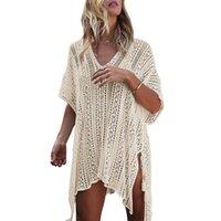Женские свитеры Женщины Дизайнеры Нерегулярные Пустые OUT Europe Warmn Одежда Vestidos Свитер V-Вышальный Сплошной Цвет