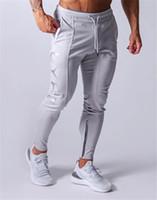 Wholesale-MarchWind Дизайнер беговые штаны Мужчины Спорт Sweatpants Бег Мужчины Joggers Хлопок Trackpants Slim Fit Брюки Бодибилдинг для брюк