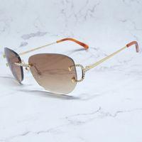 Rhinestones Wholesale Sunglasses Women Carters Fashion Glasses Designer Diamond Sun C Shades Pgefl Rimless Big Oval Men Cheaper Luxury Ndqo