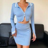 가을 겨울 2020 블루 긴 소매 자르기 최고 우편 업, 미니 Bodycon 스커트 여성 세트 섹시한 파티 의상 클럽 두 조각 세트