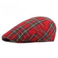 Bereler Unisex İnce Nefes Bere Şapka Erkekler Kadınlar Ekose İleri Cap İlkbahar Yaz Yeşil Kırmızı Düz Feated Şapkalar Vizör