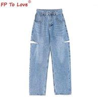 Женские джинсы FP для любви Женский дизайн 2021 Весенний осенний стиль улицы разорвал полную длину высокой талии светло-голубой молнии широкие ноги штанты1