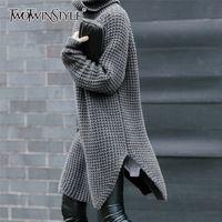 Twotwinstyle lateral coreano split camisola feminina camisola de turtleneck longo manga quente espessa suéter feminina outono inverno moda novo 201224